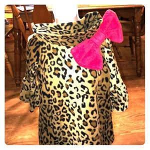 Fleece leopard print coat dress 2T-4T